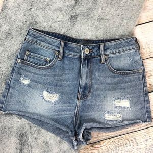 Kendall & Kylie High-rise Distressed Frayed Shorts